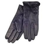 SmarTouch 3 Button Detail Leather Ladies Gloves