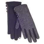 Smartouch Button Detail Nep Woven Ladies Gloves  - Grey / Black