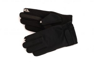 SmarTouch Fleece Lined Mens Gloves With Strap Detail - Black