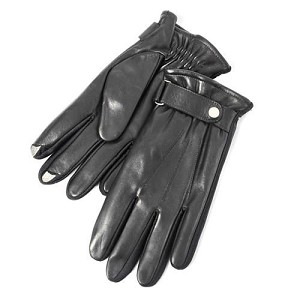 SmarTouch Leather Elasticated Strap Mens Gloves